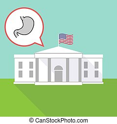 The White House with  a healthy human stomach icon