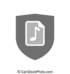 Isolated shield with a music score icon - Illustration of an...