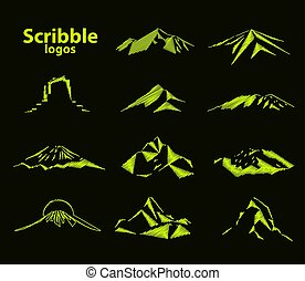 Image logo mountain - Set of eleven mountains peak logos....