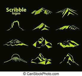 Image logo mountain - Set of eleven mountains peak logos....