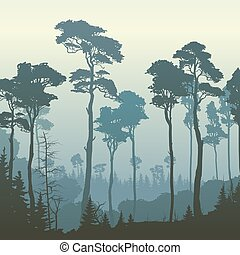 Square illustration of forest with tall pines. - Square...