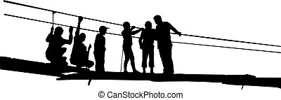 Silhouette of peoples - Silhouette of father with children...