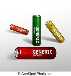 Set of batteries - Set of four colorful batteries in...