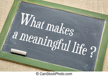 What makes a meaningful life? A question on a slate...