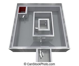empty storage room bank 3d rendering