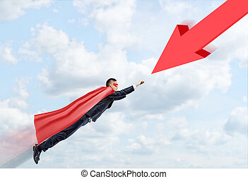 A businessman in a red cape and a mask flying through the...