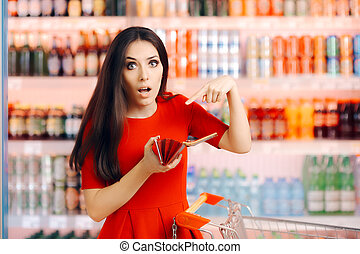 Funny Customer Checking Her Wallet in a Department Store