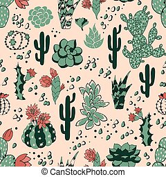 Succulent seamless pattern - Seamless pattern with...