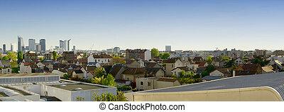 View of business district La Defense in Paris, France