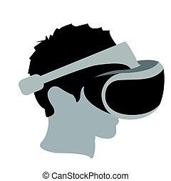 Virtual reality glasses - Isolated man head with virtual...