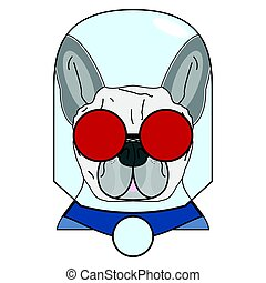 Villain symbol with glass globe, red glasses and cape in red , gray and blue as French bulldog character
