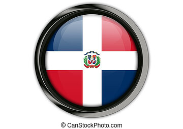 Dominican Republic flag in the button pin Isolated on White...