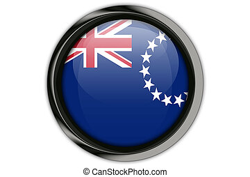 Cook Islands flag in the button pin Isolated on White...