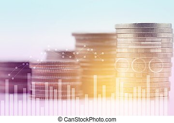 Double exposure in blue tone of graph and coins for finance - business concept.