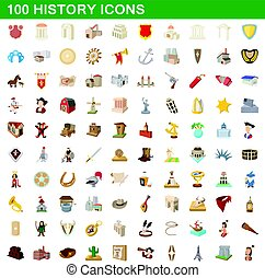100 history icons set, cartoon style
