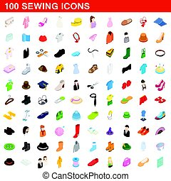 100 sewing icons set, isometric 3d style - 100 sewing icons...