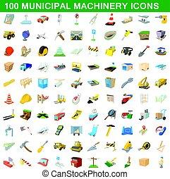 100 municipal machinery icons set, cartoon style - 100...