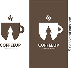 Vector of coffee and arrow up logo combination. Drink and...