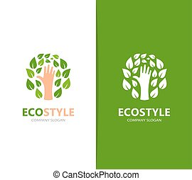Vector of hand and leaf logo combination. Arm and eco symbol...