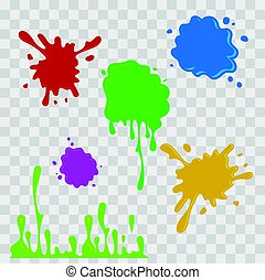 Paint drop abstract illustration. Multicolor splashes on checkered transparent background. Flat style. Vector set.