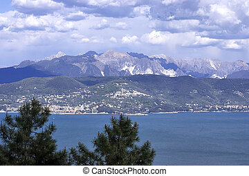 view of apuan alps in summer time  , italy