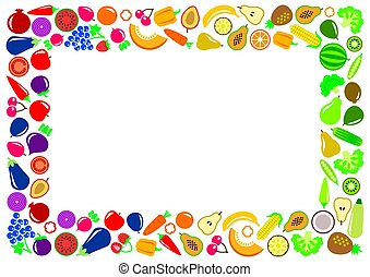 Vegetables and fruits icons rectangle frame
