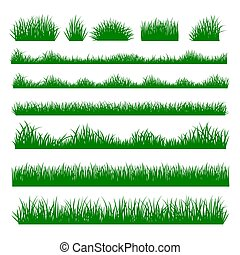 Grass silhouette borders set on background
