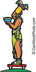 Mayan and Bowl - Mayan priest with offering bowl in image...