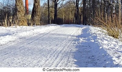 Winter rolled snowy road through the forest. Mechanical...
