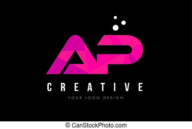 AP A P Letter Logo with Purple Low Poly Pink Triangles...