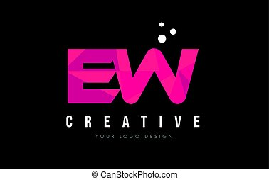 EW E W Letter Logo with Purple Low Poly Pink Triangles...
