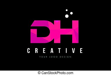 DH D H Letter Logo with Purple Low Poly Pink Triangles...