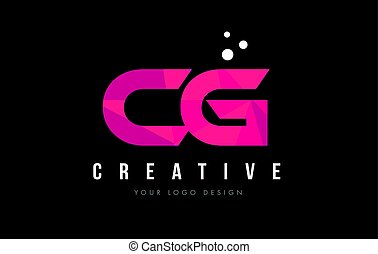 CG C G Letter Logo with Purple Low Poly Pink Triangles...
