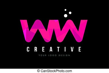 WW W Letter Logo with Purple Low Poly Pink Triangles Concept...