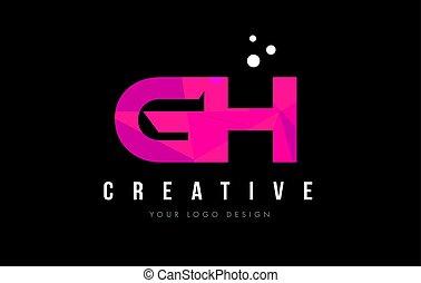 rosa, concepto, G, púrpura, H, poly, bajo, carta, logotipo,...