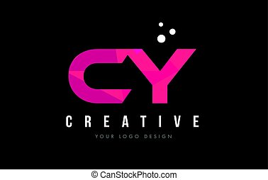 CY C Y Letter Logo with Purple Low Poly Pink Triangles...