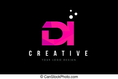 DI D I Letter Logo with Purple Low Poly Pink Triangles...