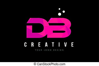 DB D B Letter Logo with Purple Low Poly Pink Triangles...
