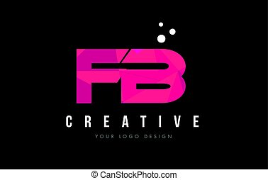 FB F B Letter Logo with Purple Low Poly Pink Triangles...