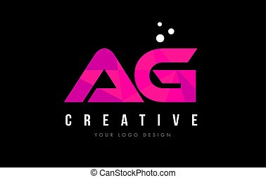 AG A G Letter Logo with Purple Low Poly Pink Triangles...