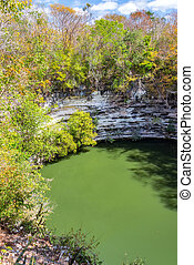 Sacred Cenote Vertical View - Vertical view of the Sacred...