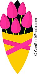 Bouquet of pink tulips icon isolated