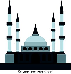 Muslim mosque icon isolated - Muslim mosque icon flat...