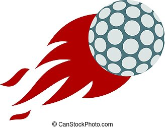 Flaming golf ball icon isolated