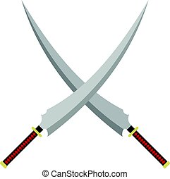 Two crossed Japanese samurai swords icon isolated - Two...