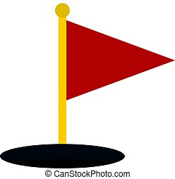 Red golf flag icon isolated - Red golf flag icon flat...
