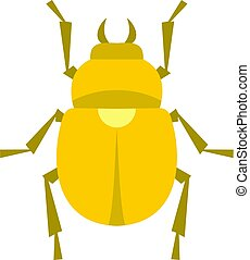 Gold scarab beetle icon isolated - Gold scarab beetle icon...
