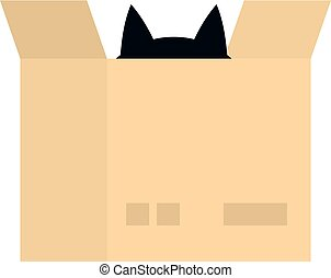 Cat in a cardboard box icon isolated