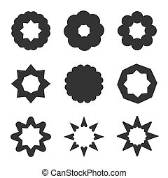 Set of black geometric flowers. Stars and sun graphic...