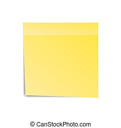 Yellow sticker paper note for notice. Sticky page. Blank...